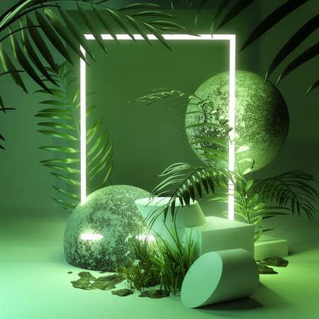 Organic fresh natural green platform background studio stage with Neon lights and plants. 3D illustration render.