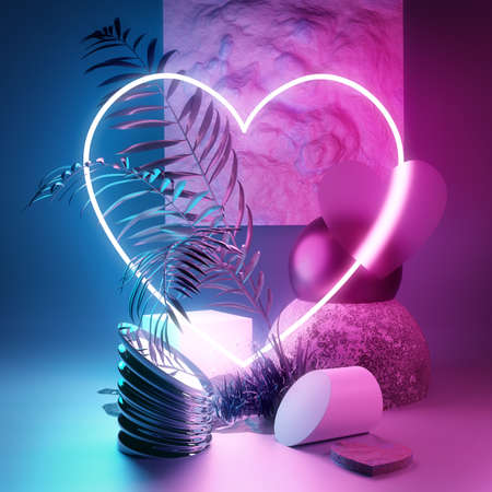 Studio composition background platform with a pink and cyan glowing neon heart. 3D stage illustration render.