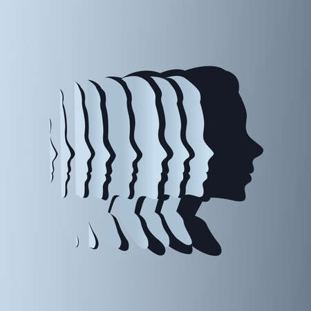Slices of paper creating a silhouette shadow of a womens head shape. Health, mind and wellbeing concept. Vector illustration. Ilustracja