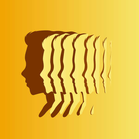 Slices of paper creating a silhouette shadow of a mans head shape. Health, mind and wellbeing concept. Vector illustration. Ilustracja