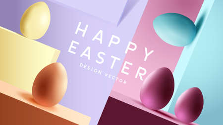 Pastel coloured easter eggs layout design with copy space, Holiday background vector illustration.