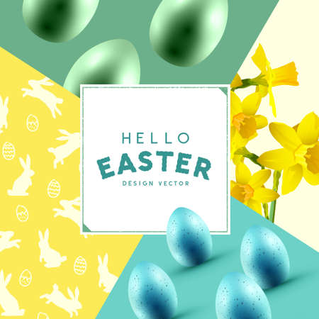 Hello Easter background celebration layout with easter eggs, daffodil flowers and rabbit silhouettes. Vector illustration
