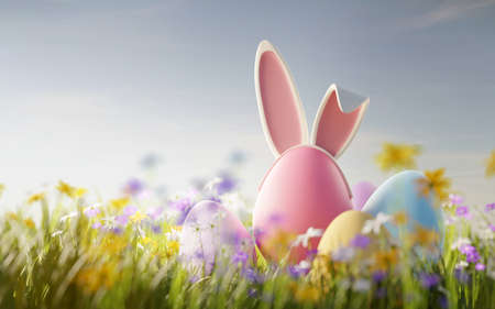 Easter egg hunt. Festive pastel coloured eggs with rabbit ears in a wild flower meadow. 3D illustration.