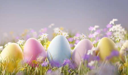 Pastel coloured wild flower meadow field with easter eggs. Spring 3D illustration