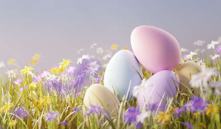 Pastel easter eggs in a meadow filled with wild flowers. Spring 3D illustration