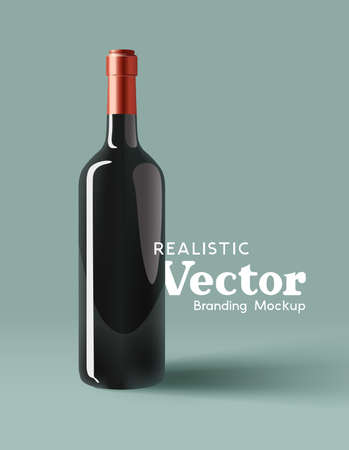 A realistic glass bottle of red wine branding mock up. Contemporary marketing template Vector illustration