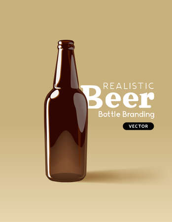 A realistic brown glass beer bottle for mocking up designs. Contemporary beverage marketing template Vector illustration Ilustracja