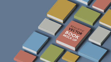collection of hardcover realistic books. Mock up template for marketing. Vector illustration