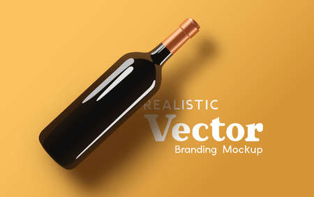 A realistic glass bottle of wine - branding mock up. Contemporary marketing beverage template Vector illustration