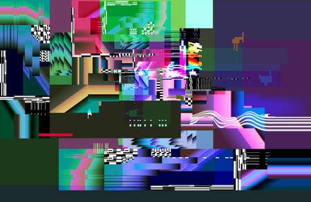 Screen glitching lag bandwidth distortion. Display lag texture vector illustration.