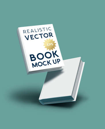 Blank realistic book cover mockup - e-book and marketing template vector illustration. Ilustracja
