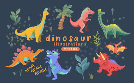 A collection of cute colorful prehistoric dinosaur characters. Vector illustration Ilustracja