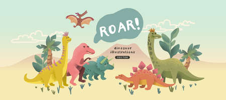 A cute collection of cheerful prehistoric dinosaur characters. Vector illustration.