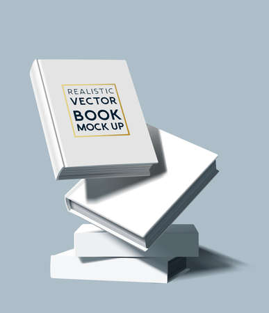 A stack of white blank hardcover books. Marketing and E-book template vector illustration. Ilustracja