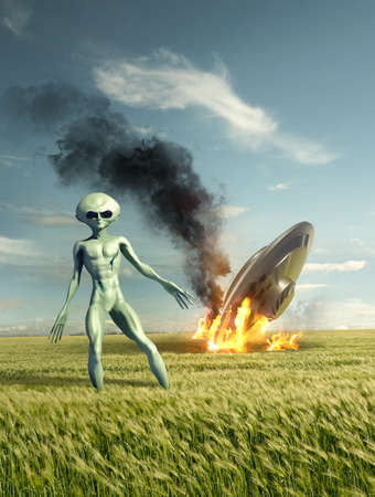 Classic Flying saucer UFO crash site with a green alien. Classified extraterrestrial life on Earth. 3D illustration