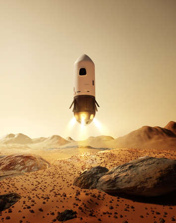 A rocket carrying astronauts landing on the surface of the planet Mars. Future space exploration missions. 3D illustration.