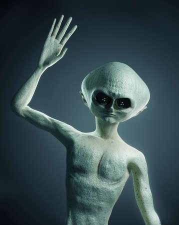 Portrait of a humanoid alien life form character waving. 3D illustration Zdjęcie Seryjne