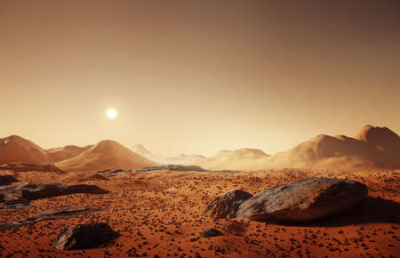 The martian landscape, scattered rocks and distant mountains on the surface of Mars. 3D illustration.