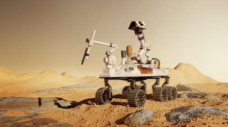 A robotic rover mission to  Mars, exploring and performing science experiments on the martian surface. 3D illustration. Zdjęcie Seryjne