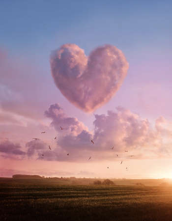 A landscape sunset with a pink fluffyheart shaped cloud. Love and likes concept illustration.