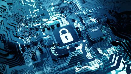 Digital online network cloud security concept. 3D technology illustration