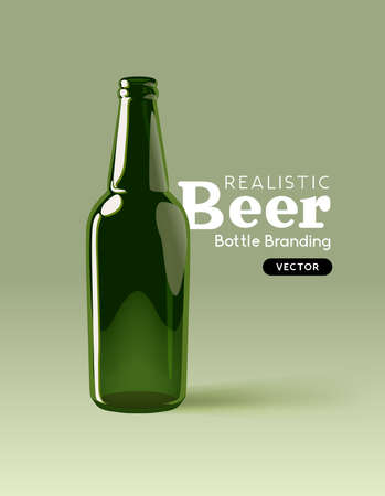 A realistic green glass beer bottle for mocking up designs. Contemporary beverage marketing template Vector illustration