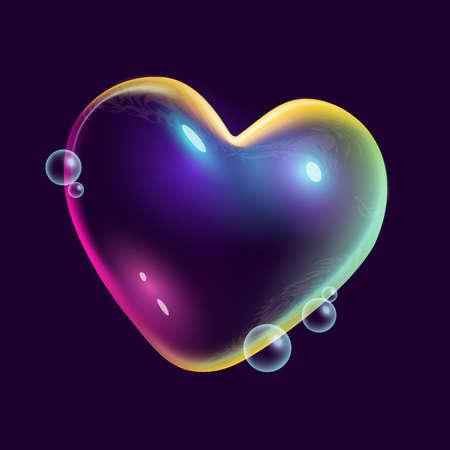 A heart shaped rainbow coloured floating soap bubble. Creative vector illustration