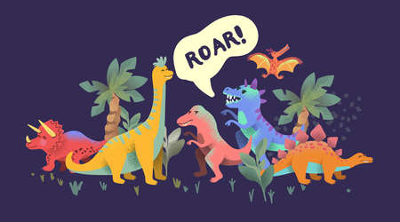 Bright colourful happy dinosuar story characters! Vector illustration