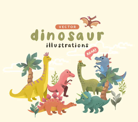 Collection of Cheerful and colourful story dinosuar characters. Vector illustration. Ilustracja