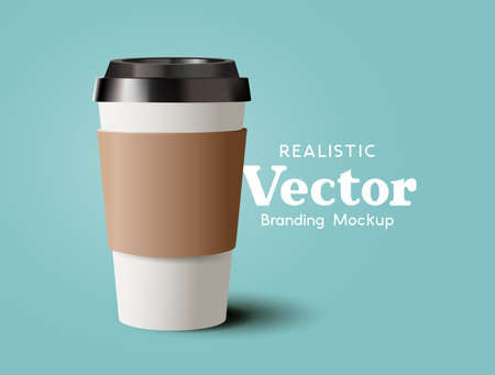 A realistic takeaway cardboard coffee cup. Contemporary beverage hot drinks marketing template Vector illustration Ilustracja