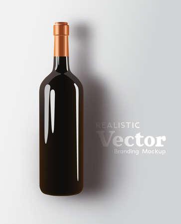 A realistic glass bottle of red wine branding mock up. Beverage Marketing template Vector illustration