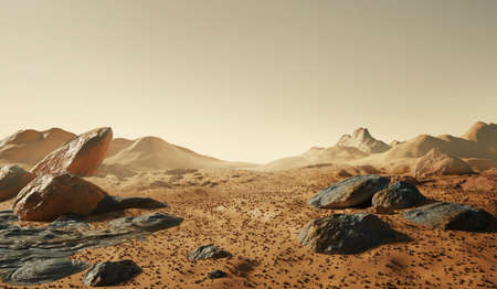 Landscape of Mars.The martian surface scatters with rocks and dust, with distant mountains. 3D background illustration.
