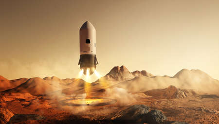 A futuristic mission to Mars. A rocket carrying astronauts landing on the martian surface. 3D illustration Zdjęcie Seryjne