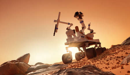 Exploring and learning about the planet Mars. A rover exploring the martian surface. 3D illustration. Zdjęcie Seryjne