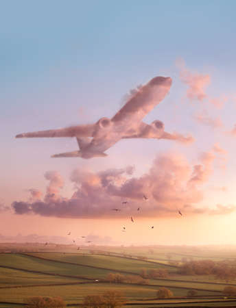 A sunset landscape scene with pink fluffy clouds in the shape of an airplane. Travel and flight conceptual Illustration.