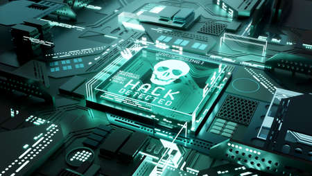 Hacking technology. Network ransomware and cyber crimes concept - 3d illustration. Zdjęcie Seryjne