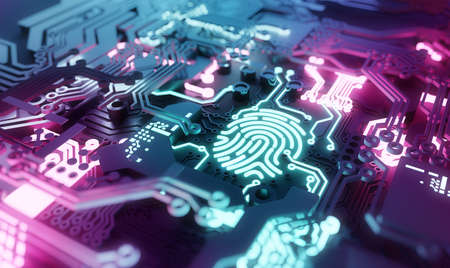 Digital biometric fingerprint security concept. Online Network and personal identity computer hardware. 3D illustration.