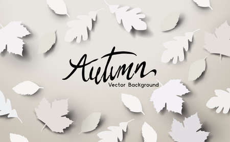 Autumn season background design with falling paper autumn leaves and room for text. Vector illustration