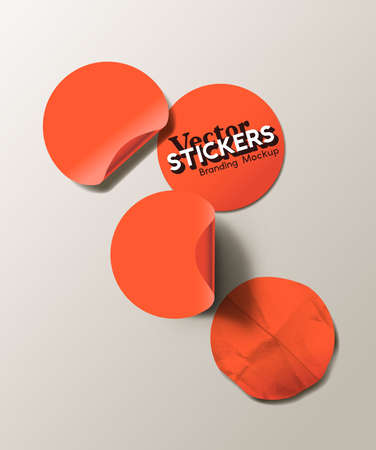 A set of blank red round adhesive paper stickers in various states. Isolated label collection vector illustration.