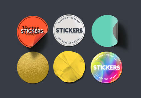 A set of blank round adhesive paper stickers in various states and colours. Isolated label collection vector illustration. Ilustracja