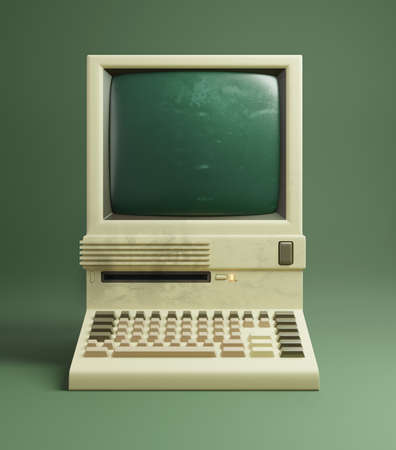 A classic desktop computer from the 1980s, with slightly yellowing beige plastics and monochrome monitor. 3D illustration. Zdjęcie Seryjne