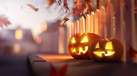 Glowing candle lit Jack O Lantern Halloween pumpkin decorations outside on a suburban street pavement at dusk. 3D illustration.