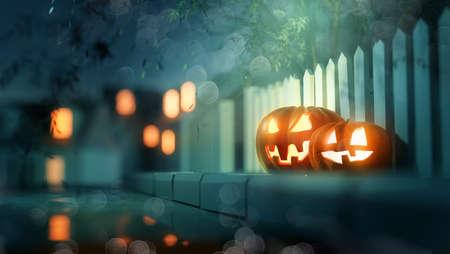 Glowing candle lit Jack O Lantern Halloween pumpkin decorations outside on a street pavement. 3D illustration.