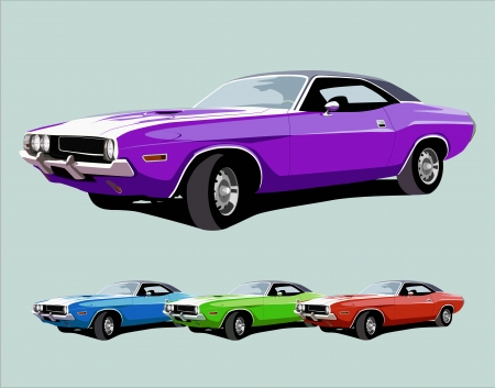 purple car: hot american muscle car. vector illustration Illustration