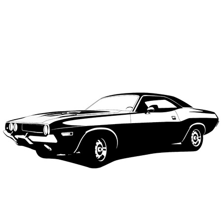 muscle car profiel. vectorillustratie Stock Illustratie