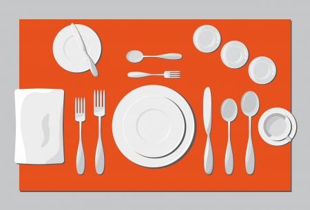 Presenteren servies en bestek. Vector illustratie