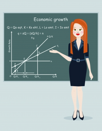 business woman presentation economic growth. vector illustration Vector
