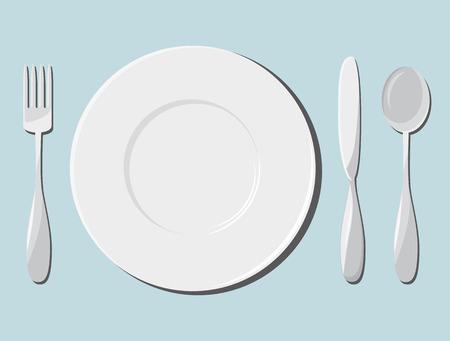 Servies en bestek. Vector illustratie Vector Illustratie