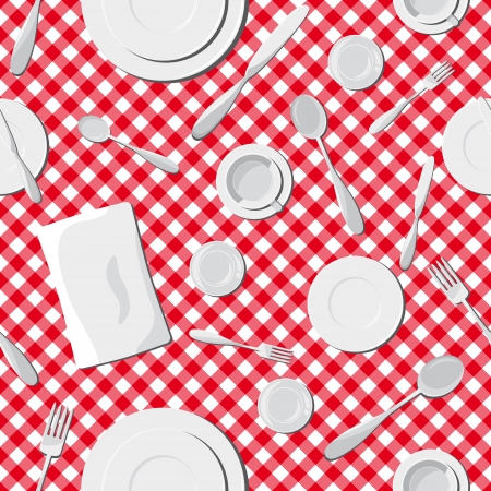 Dishes seamless pattern. Vector illustration Vector