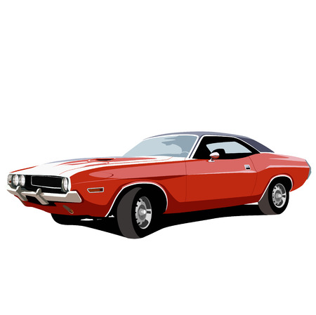 street rod: Muscle car. Vector illustration